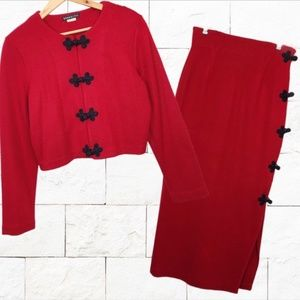 Vintage Red Knotted Sexy PeekABoo Jacket Skirt Set